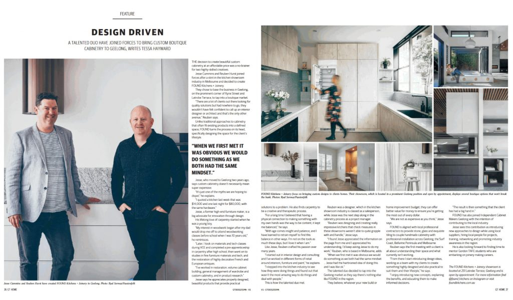 GT Magazine article about FOUND Kitchens Geelong